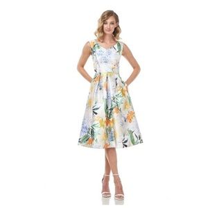Kay Unger Irene Floral Mikado Flare Dress NWT